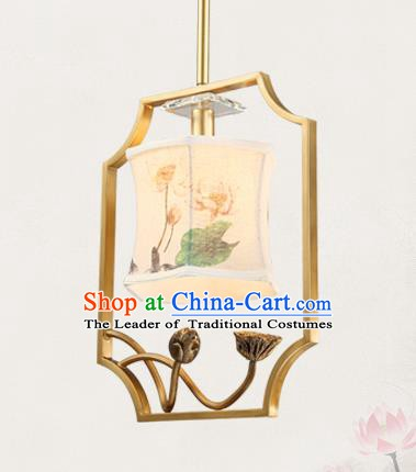 China Traditional Handmade Lantern Ancient Painting Lotus Lanterns Palace Ceiling Lamp