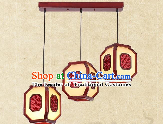 Traditional China Handmade Hanging Lantern Ancient Wood Lanterns Palace Ceiling Lamp
