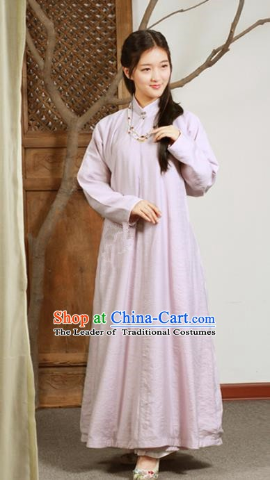 Ancient Chinese National Costumes Pink Cheongsam Dress for Women