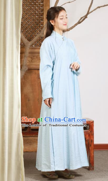 Ancient Chinese National Costumes Blue Cheongsam Dress for Women