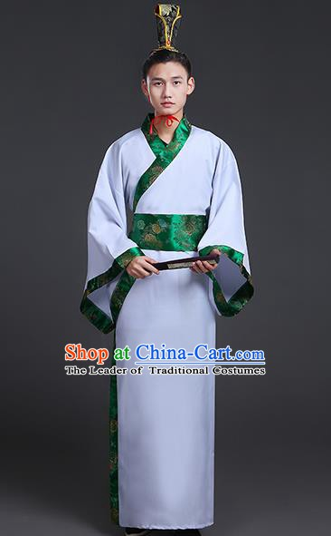 Chinese Ancient Han Dynasty Prince Costume Scholar Embroidered Hanfu Clothing for Men