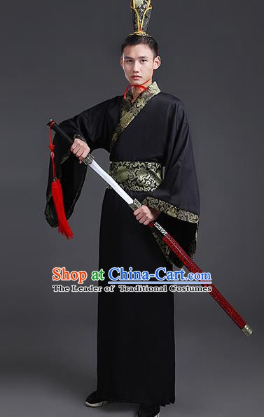 Chinese Ancient Han Dynasty Nobility Childe Costume Theatre Performances Swordsman Clothing for Men
