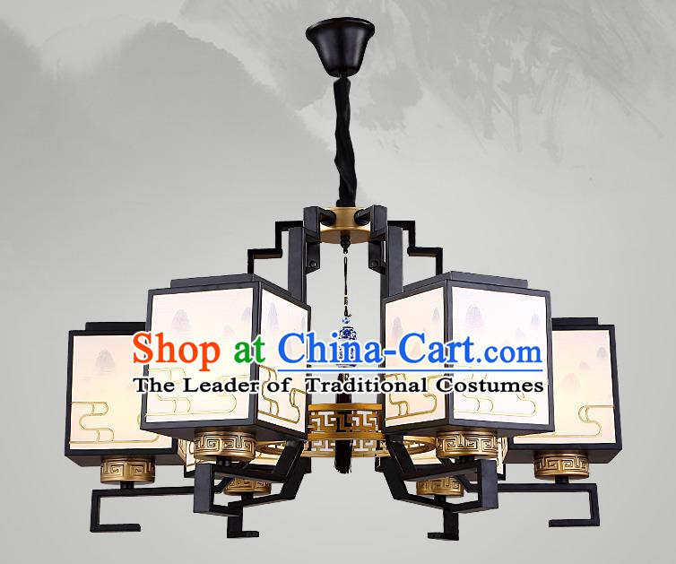 Traditional China Handmade Lantern Ancient Six-Lights Hanging Lanterns Palace Ceiling Lamp