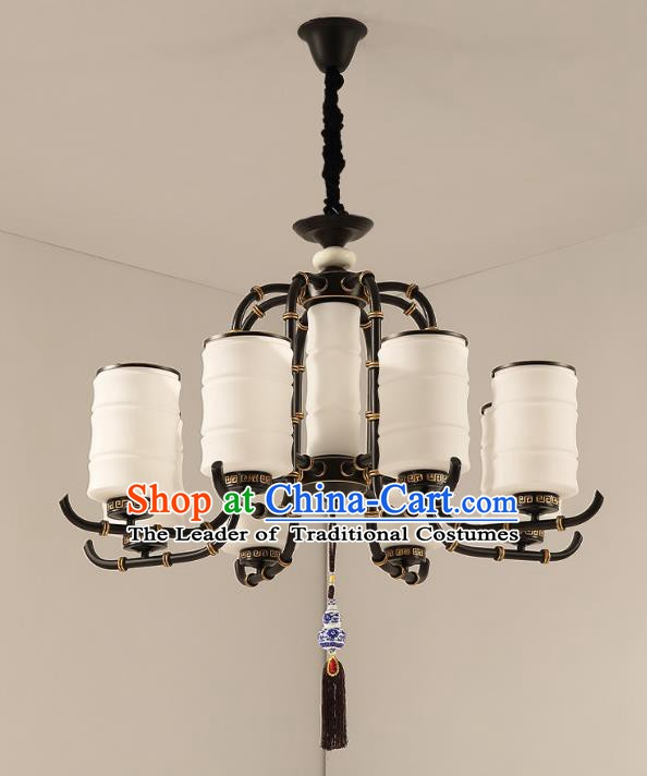 Traditional China Handmade Lantern Ancient Eight-Lights Hanging Lanterns Palace Ceiling Lamp