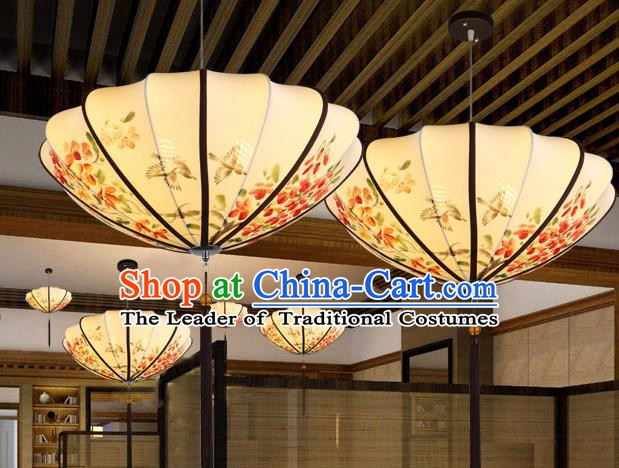 Traditional China Handmade Printing Flowers Lantern Ancient New Year Hanging Lanterns Palace Ceiling Lamp