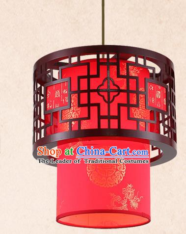 China Handmade Red Lantern Traditional Wood Lanterns Palace Hanging Lamp