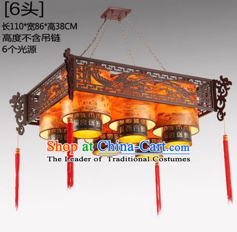 China Handmade Ceiling Lantern Traditional Wood Carving Phoenix Hanging Lanterns Palace Six-Lights Lamp