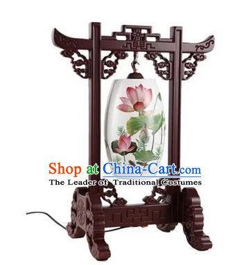 Asian China Handmade Desk Lanterns Traditional Chinese Ancient Lamp Printing Lotus Palace Lantern