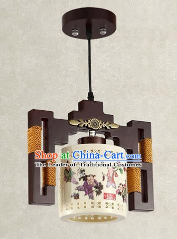China Handmade Ceiling Lantern Traditional Ancient Printing Ceramics Hanging Lamp Palace Lanterns