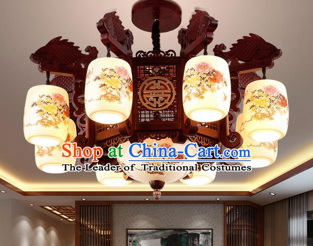 China Handmade Ceiling Lantern Traditional Ancient Porcelain Eight-Lights Lamp Palace Lanterns