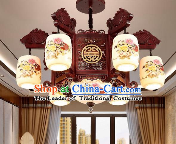China Handmade Ceiling Lantern Traditional Ancient Porcelain Six-Lights Lamp Palace Lanterns
