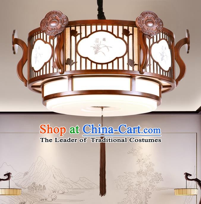 China Handmade Printing Ceiling Lantern Traditional Ancient Wood Hanging Lamp Palace Lanterns
