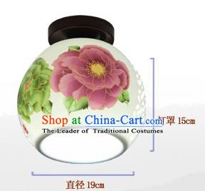 China Handmade Ceramics Lantern Traditional Peony Lanterns Palace Ceiling Lamp