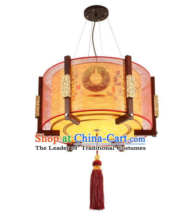 Asian China Handmade Wood Ceiling Lantern Traditional Ancient Parchment Hanging Lamp Palace Lanterns