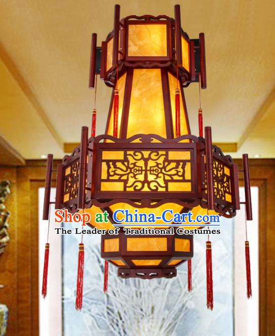 Asian China Handmade Wood Lantern Traditional Ancient Ceiling Lamp Hanging Palace Lanterns