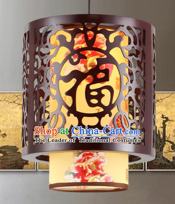 Asian China Handmade Yellow Parchment Lantern Traditional Ancient Ceiling Lamp Hanging Palace Lanterns