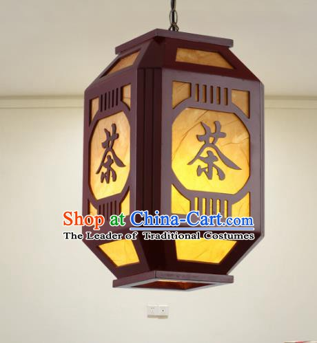 Asian China Handmade Wood Parchment Lantern Traditional Ancient Ceiling Lamp Hanging Palace Lanterns