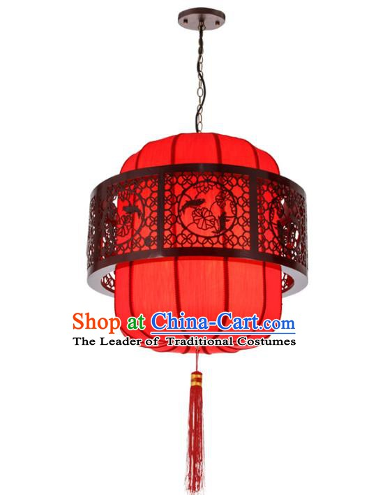 Asian China Handmade Wood Carving Lantern Traditional Ancient Ceiling Lamp New Year Palace Lanterns