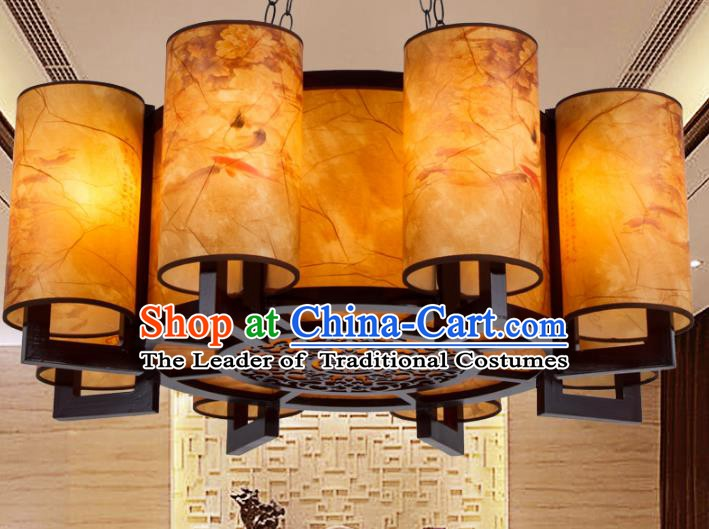 Chinese Handmade Eight-Lights Lantern Traditional Palace Ceiling Lamp Ancient Hanging Lanterns