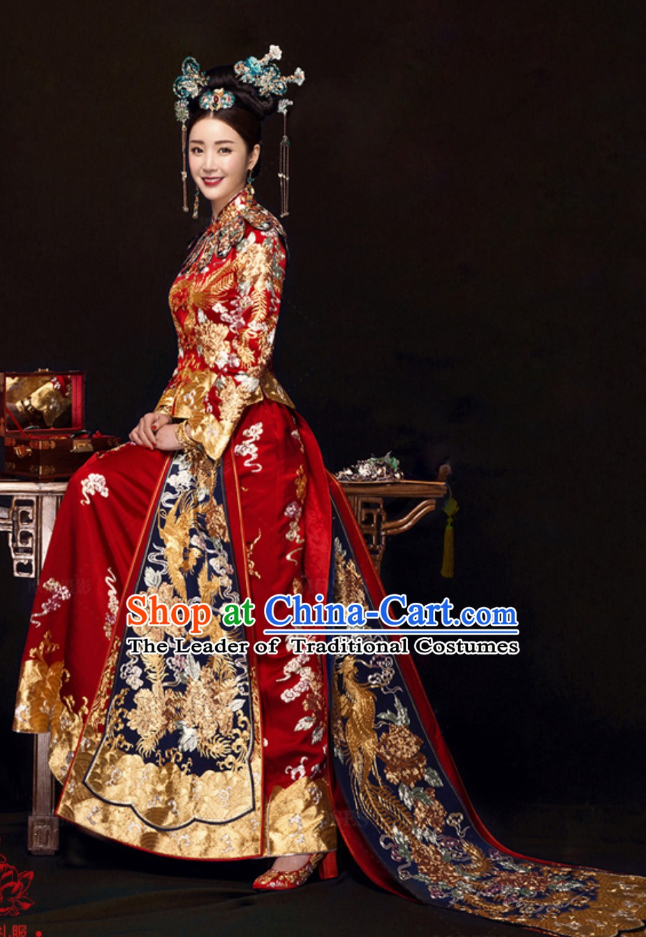 Chinese Traditional Phoenix Embroidery Wedding Dress Garment and Hair Jewelry Complete Set for Brides