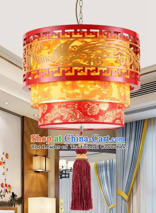 Chinese Handmade Wood Carving Phoenix Lantern Traditional Palace Red Ceiling Lamp Ancient Hanging Lanterns