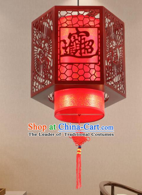Chinese Handmade Wood Carving Lantern Traditional Palace Red Ceiling Lamp Ancient Hanging Lanterns