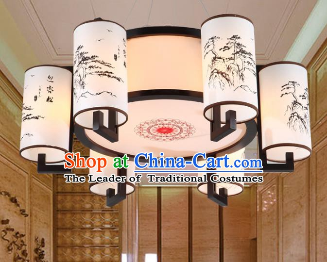 Chinese Handmade Printing Pineburst Lantern Traditional Palace Six-Lights Ceiling Lamp Ancient Hanging Lanterns