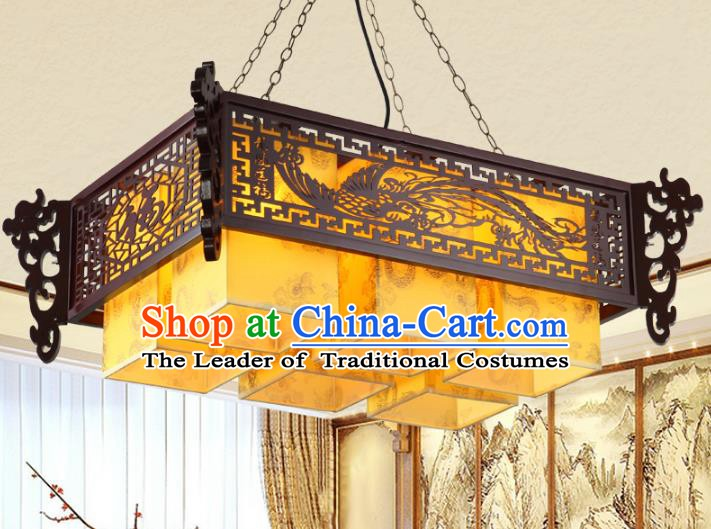 Asian China Handmade Wood Carving Phoenix Lantern Traditional Ancient Six-Lights Ceiling Lamp Palace Lanterns