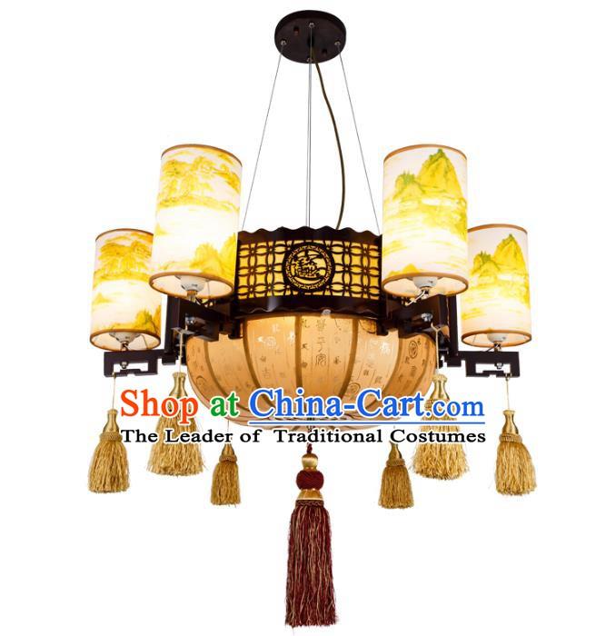 Chinese Handmade Landscape Painting Lantern Traditional Palace Ceiling Lamp Ancient Hanging Lanterns