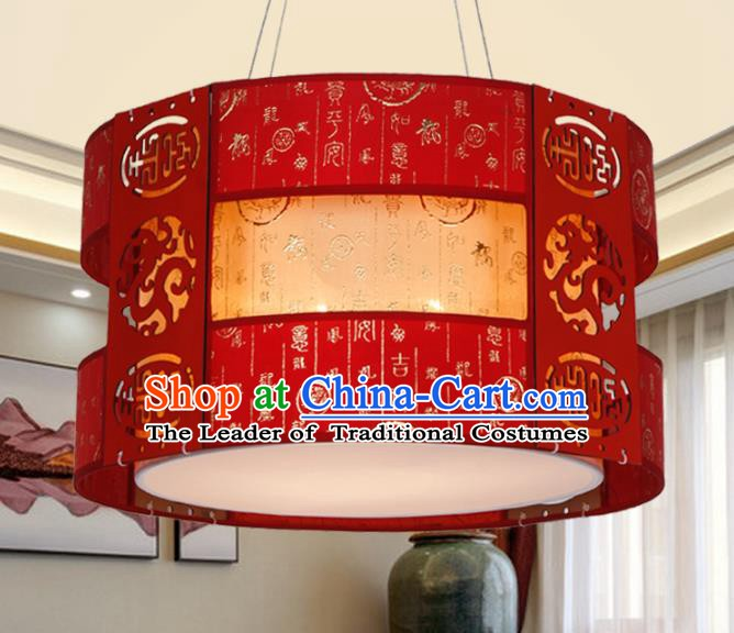 China Ancient Handmade Wood Carving Red Lantern Traditional Ceiling Lamp Palace Lanterns