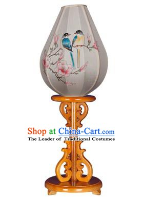 Asian China Handmade Printing Birds Flowers Lanterns Traditional Ancient Desk Palace Lantern