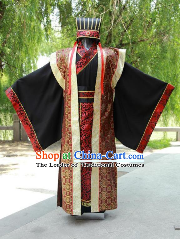 China Ancient Han Dynasty Chancellor Costume Theatre Performances Landlord Clothing for Men