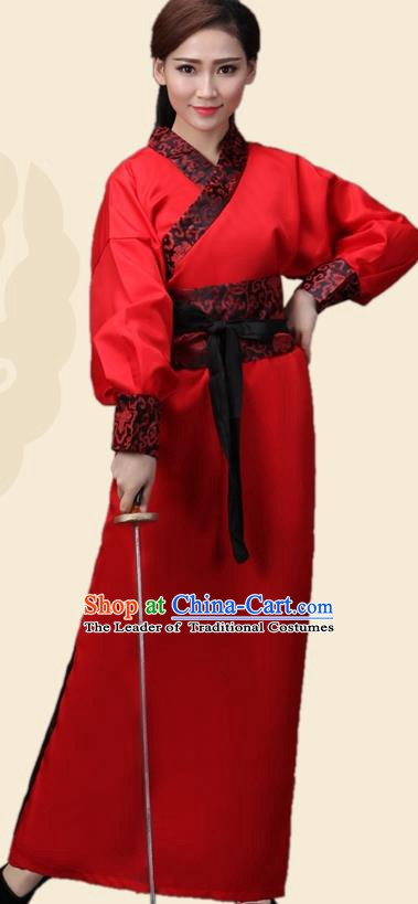 China Han Dynasty Swordswoman Red Costume Ancient Theatre Performance Heroine Clothing for Women