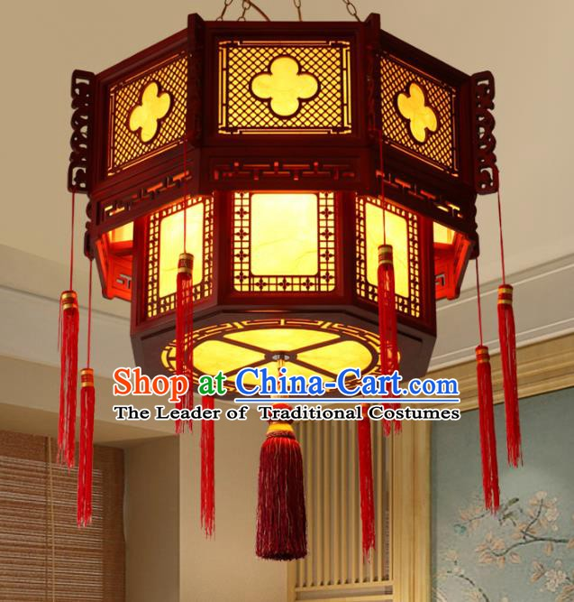 Chinese Handmade Wood Hanging Lantern Traditional Palace Ceiling Lamp Ancient Lanterns