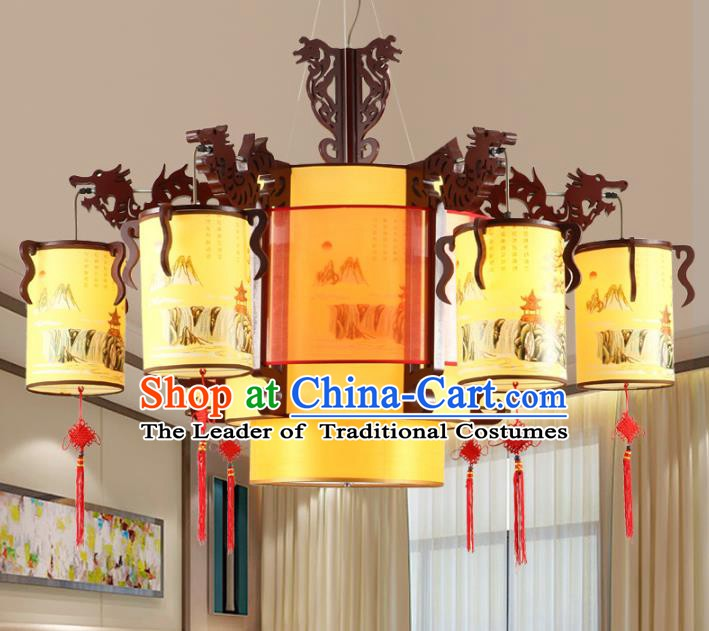 Chinese Handmade Wood Six-Lights Lantern Traditional Palace Hanging Ceiling Lamp Ancient Lanterns