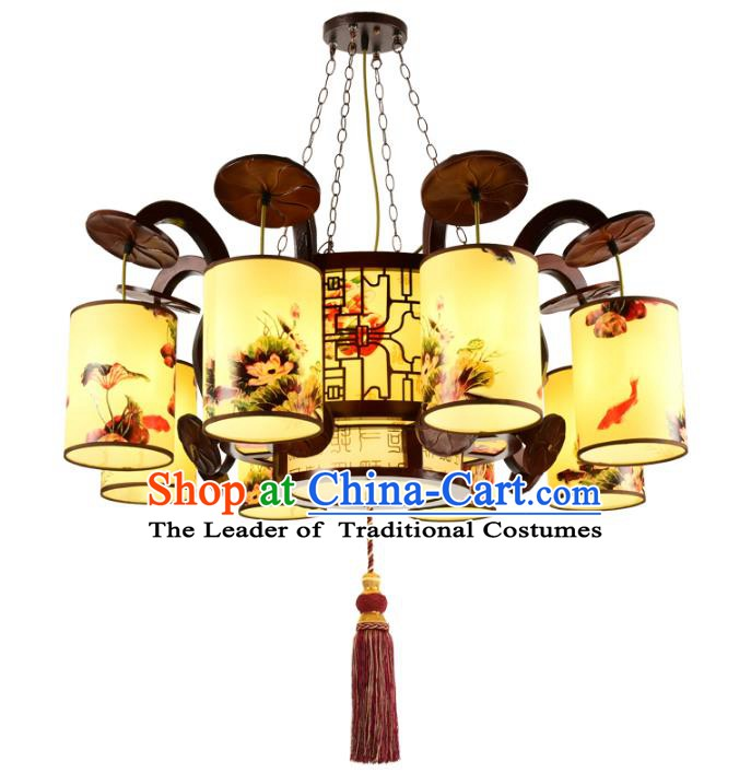 Chinese Handmade Eight-Lights Hanging Lantern Traditional Palace Printing Lotus Parchment Ceiling Lamp Ancient Lanterns