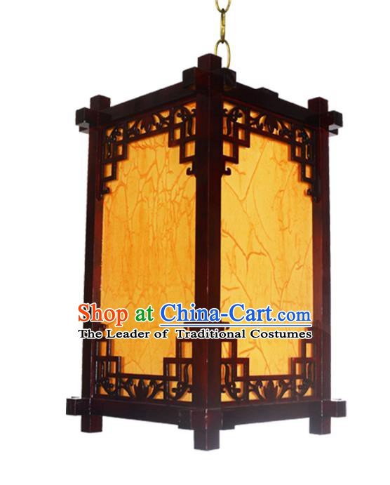 Chinese Handmade Wood Hanging Lantern Traditional Palace Parchment Ceiling Lamp Ancient Lanterns