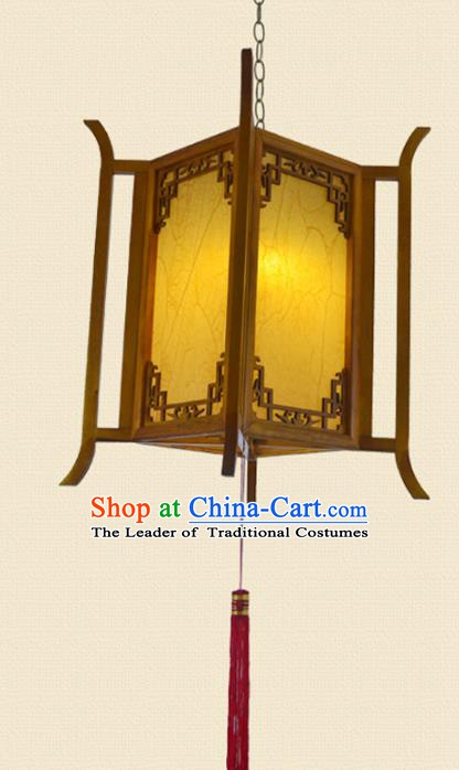 Chinese Handmade Portable Hanging Lantern Traditional Palace Wood Ceiling Lamp Ancient Lanterns