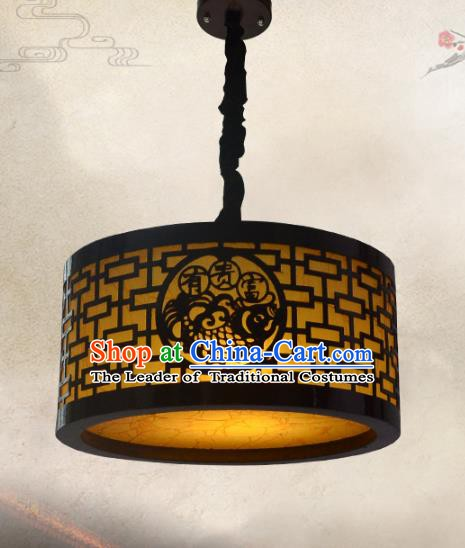 Chinese Handmade Palace Lantern Traditional Hanging Lantern Wood Carving Fish Ceiling Lamp Ancient Lanterns