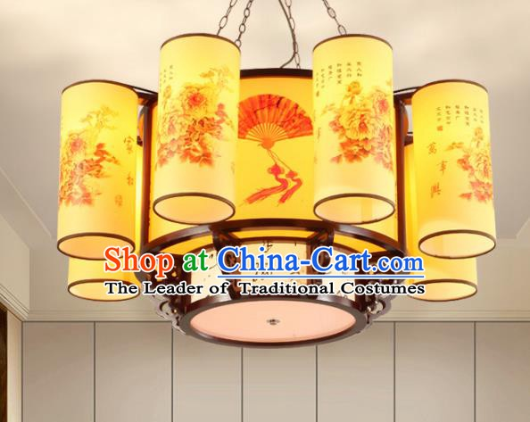 Chinese Handmade Eight-Lights Hanging Lantern Traditional Palace Ceiling Lamp Ancient Lanterns
