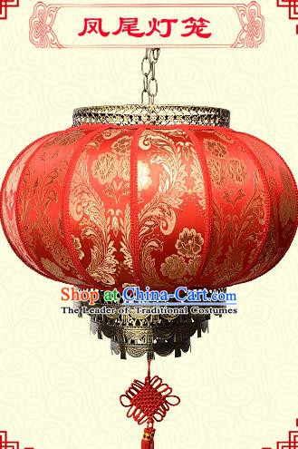 Chinese Handmade Palace Phoenix Flower Lanterns Traditional New Year Red Hanging Lantern