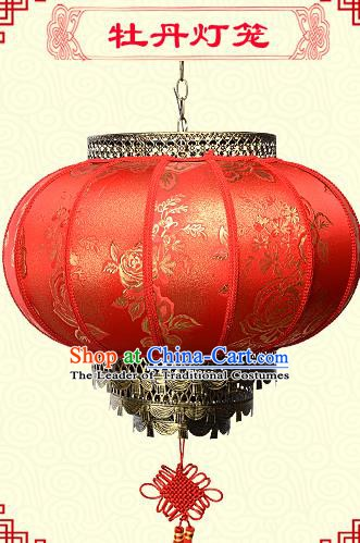 Chinese Handmade Palace Peony Lanterns Traditional New Year Red Hanging Lantern