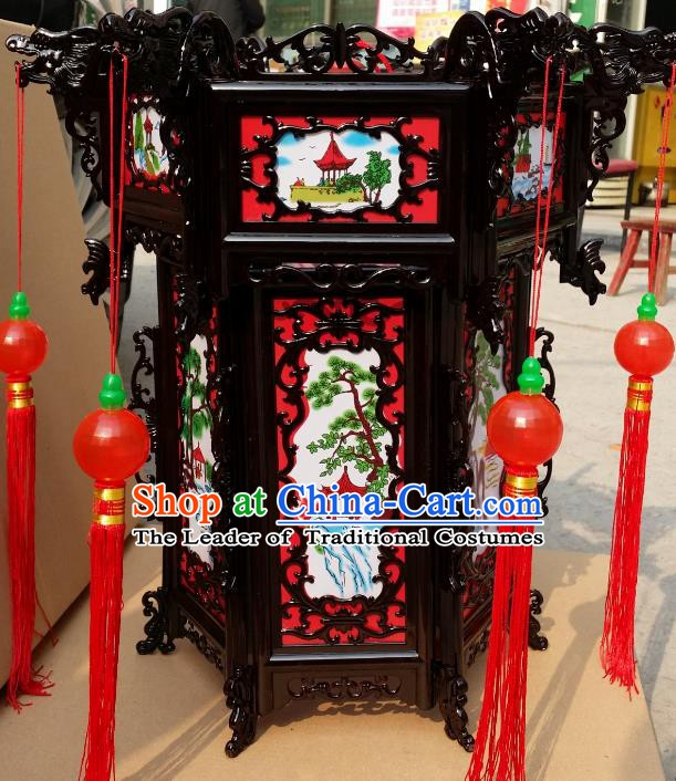 Chinese Handmade Pavilion Palace Lanterns Traditional New Year Hanging Lantern