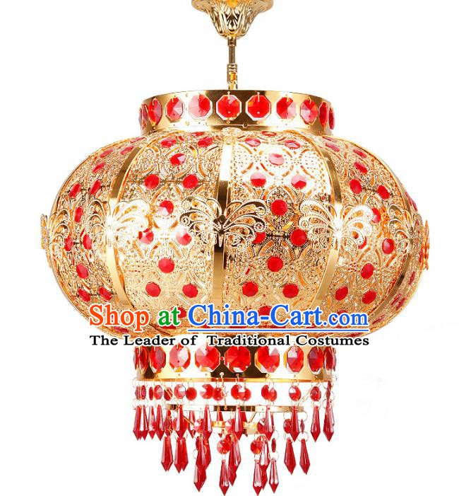 Chinese Ancient Handmade Golden Palace Lanterns Traditional Hanging Lantern