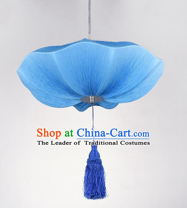 Chinese Classical Handmade Palace Lanterns Traditional Blue Lotus Hanging Lantern Ancient Ceiling Lamp