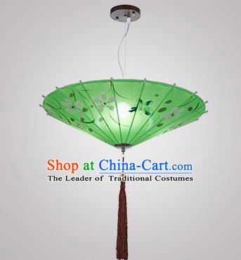 Chinese Classical Handmade Printing Umbrella Palace Lanterns Traditional Green Hanging Lantern Ancient Ceiling Lamp