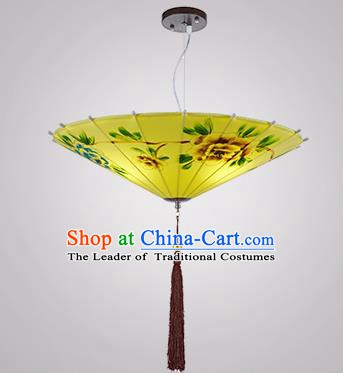 Chinese Classical Handmade Printing Umbrella Palace Lanterns Traditional Yellow Hanging Lantern Ancient Ceiling Lamp