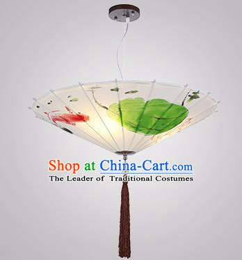 Chinese Classical Handmade Printing Umbrella Palace Lanterns Traditional White Hanging Lantern Ancient Ceiling Lamp