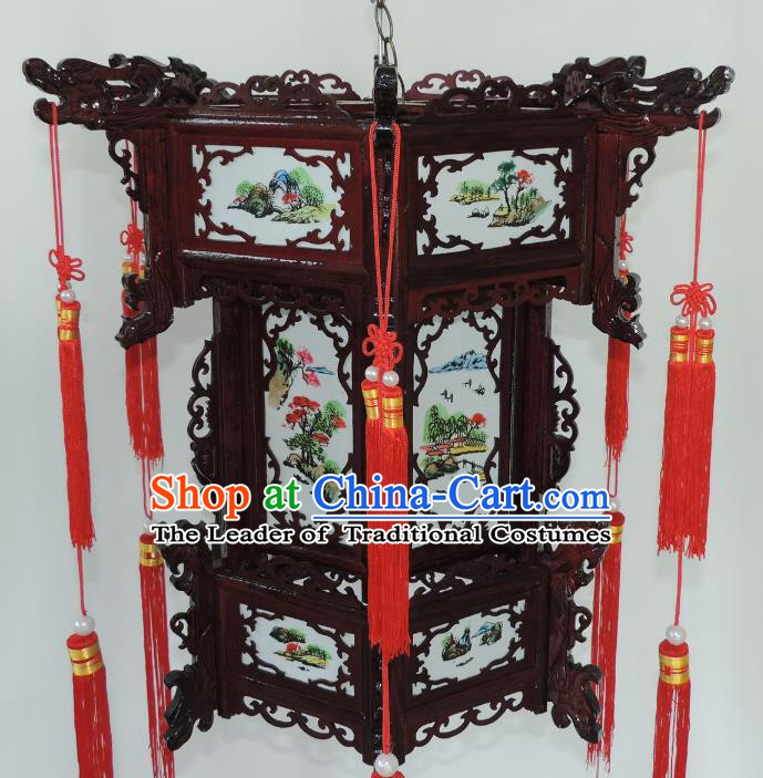 Chinese Ancient Handmade Dragon Head Palace Lanterns Traditional Landscape Hanging Lantern
