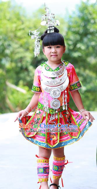Traditional Chinese Miao Minority Nationality Costume Hmong Folk Dance Pink Dress for Kids